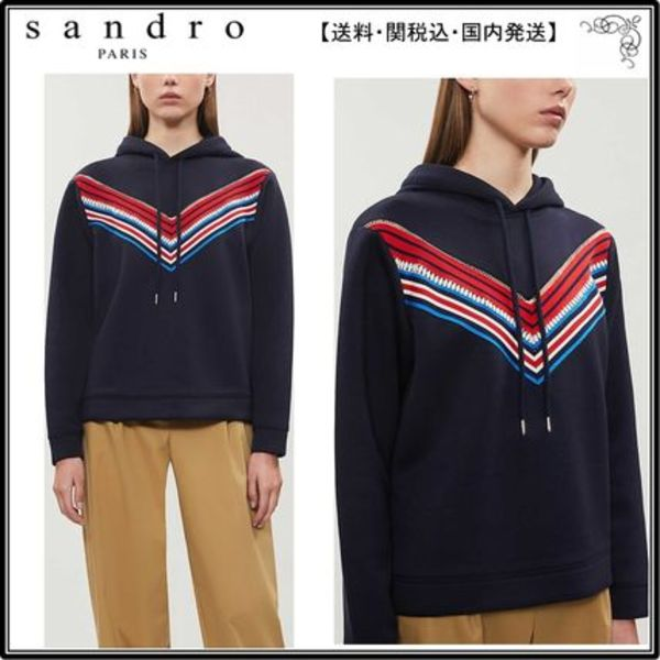 【海外限定】sandroフーディ☆Kyle striped-panel jersey hoody