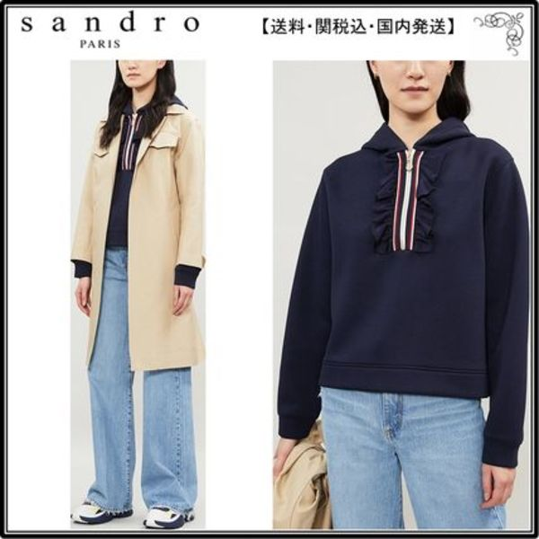 【海外限定】sandroフーディ☆Thanina striped-trim stretch-jer