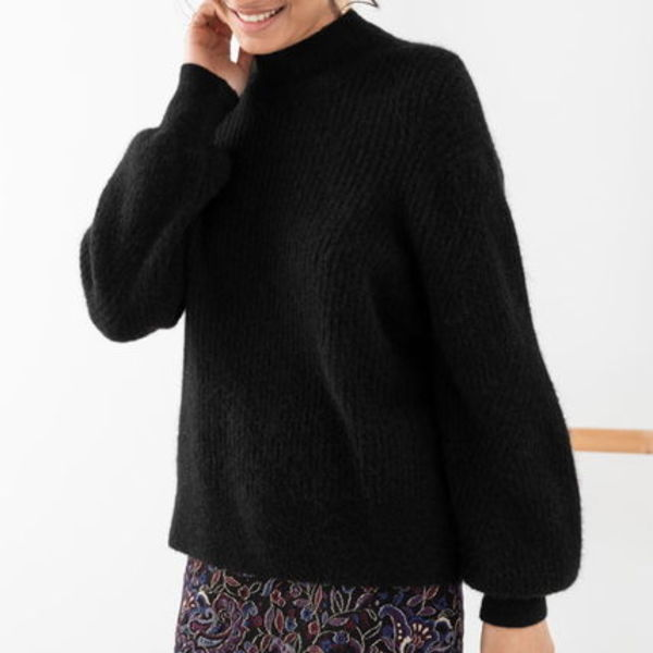 """& Other Stories"" Wool Blend Ribbed Knit Sweater Black"