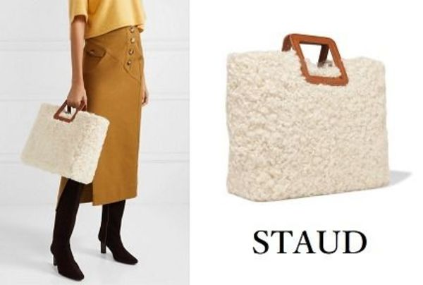STAUD☆Shirley leather-trimmed shearling tote もこもこトート