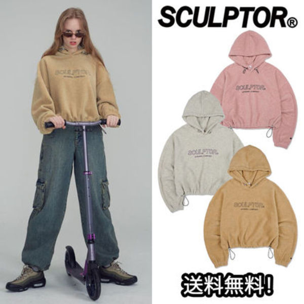 日本未入荷 新作 [SCULPTOR] FLEECE STRING CROP HOODIE 3色