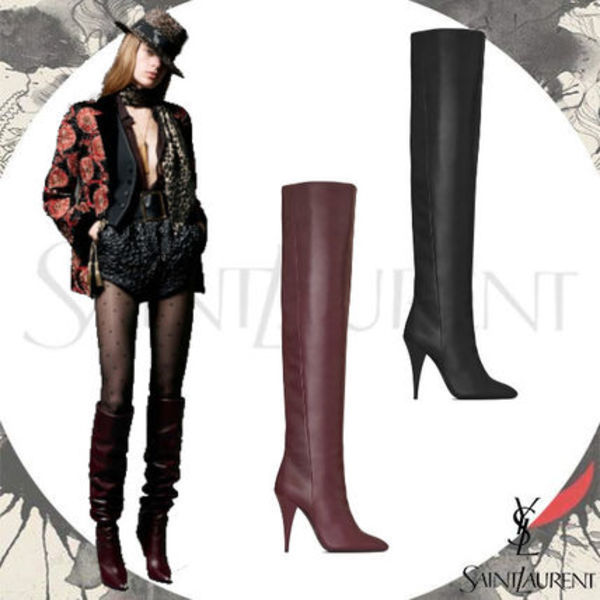 19AW【Saint Laurent】 KIKI BOOT IN SMOOTH LEATHER 選べる2色