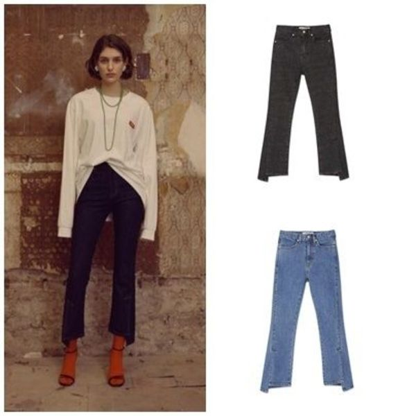 ANDERSSON BELLのUNBALANCE SLIT CROP JEANS(18SS) apa199w