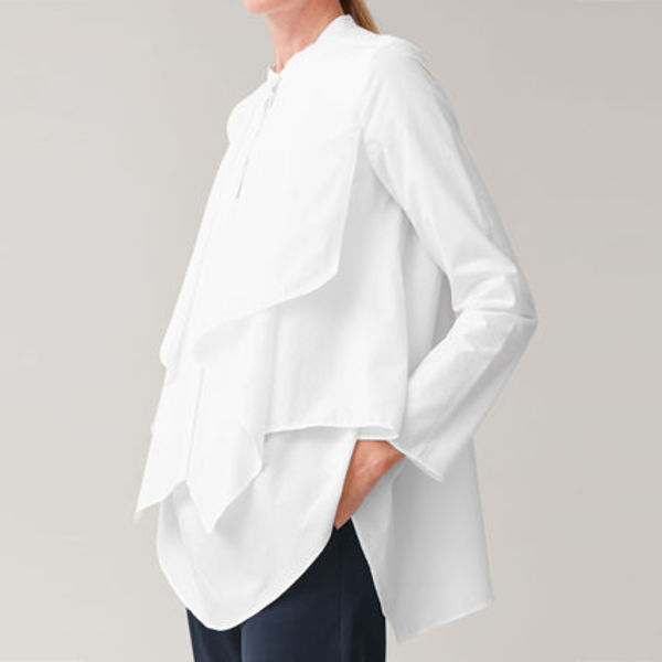 COS DRAPED FRONT COTTON SHIRT