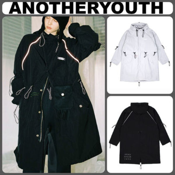 【ANOTHERYOUTH】StringフードコートBLACK LIGHTGRAY/追跡送料込
