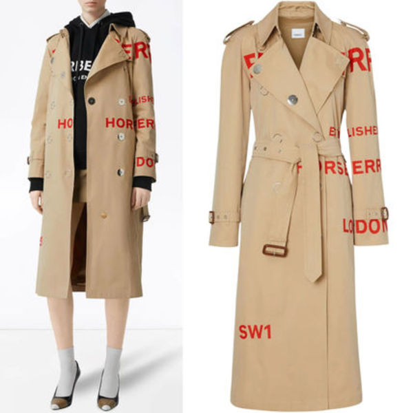 BB199 HORSEFERRY PRINT COTTON GABARDINE TRENCH COAT