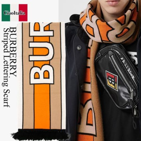 Burberry striped lettering scarf