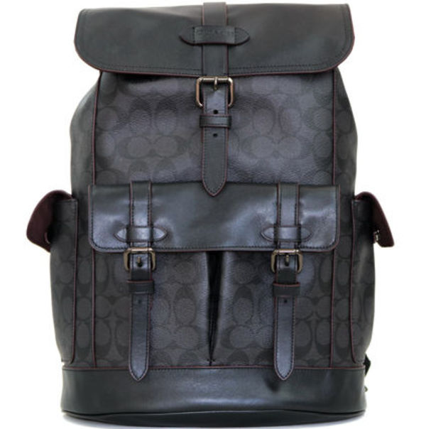 黒+シグネチャー☆COACH☆HUDSON BACKPACK IN SIGNATURE CANVAS