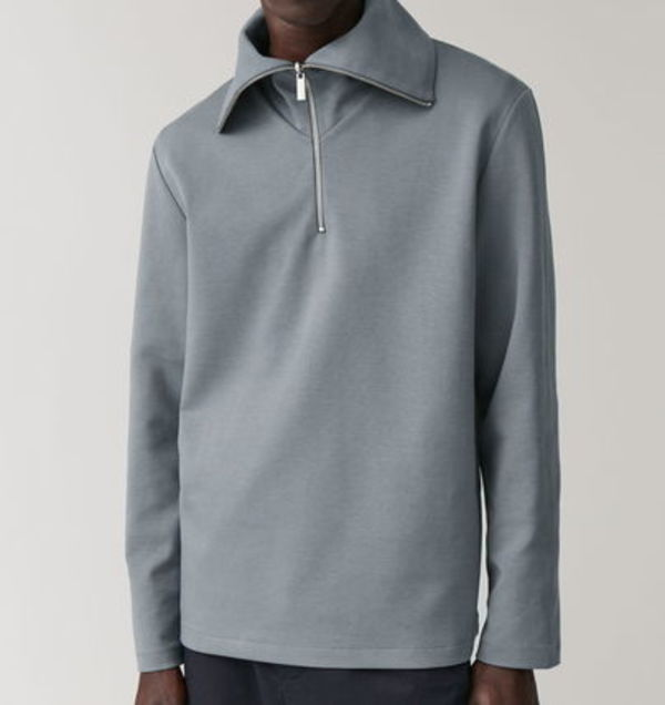 """COS MEN"" ZIP-UP COTTON SWEATSHIRT GRAY"