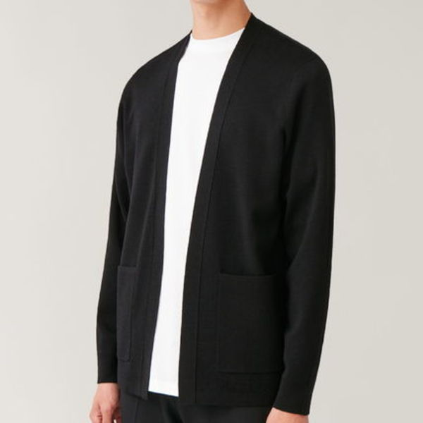 """COS MEN"" OPEN MERINO CARDIGAN BLACK"