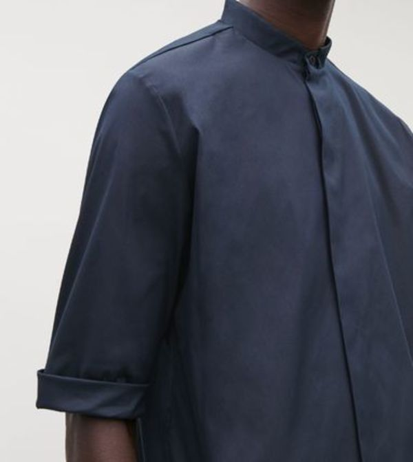 """COS MEN"" 3/4-SLEEVED GRANDAD SHIRT DEEP NAVY"