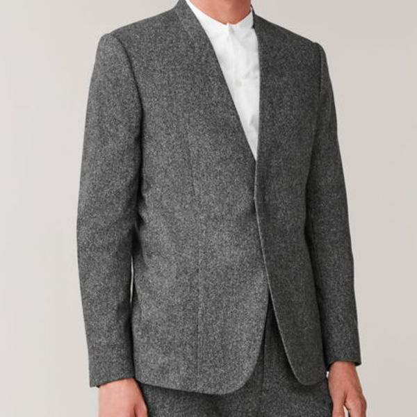 """COS MEN""  COLLARLESS WOOL-CASHMERE BLAZER GRAY"