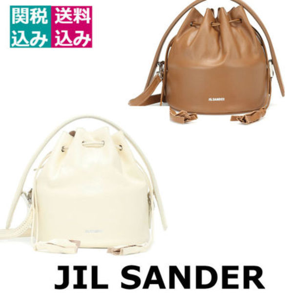 RUNWAY/関税込☆JIL SANDER☆Drawstring Drum Mini leather tote