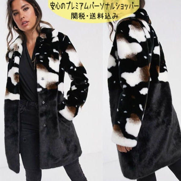 国内発送ASOS/Barney's Originals faux fur coat in cow print