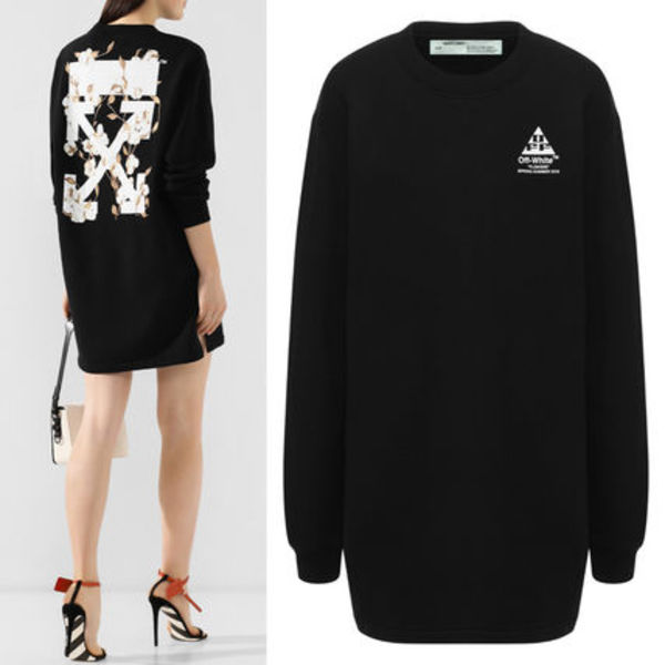OW099 COTTON FLOWERS SWEATSHIRT DRESS