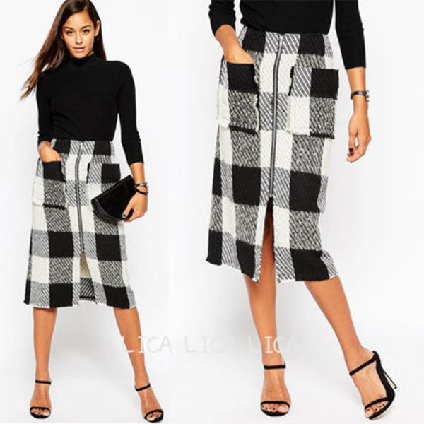 送料無料・国内発送ASOS Midi Skirt in Wool Mix Check