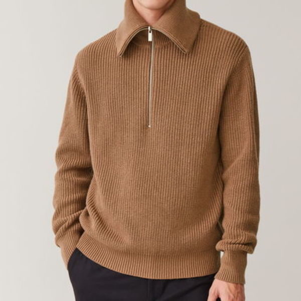 """COS MEN"" HALF-ZIP COTTON-WOOL JUMPER BEIGE"