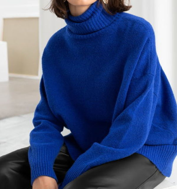 """& Other Stories"" High Neck Sweater Blue"