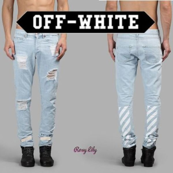 15-16AW◆Off-White◆BLEACH WASHING LIGHT BLUE SLIM FIT JEANS