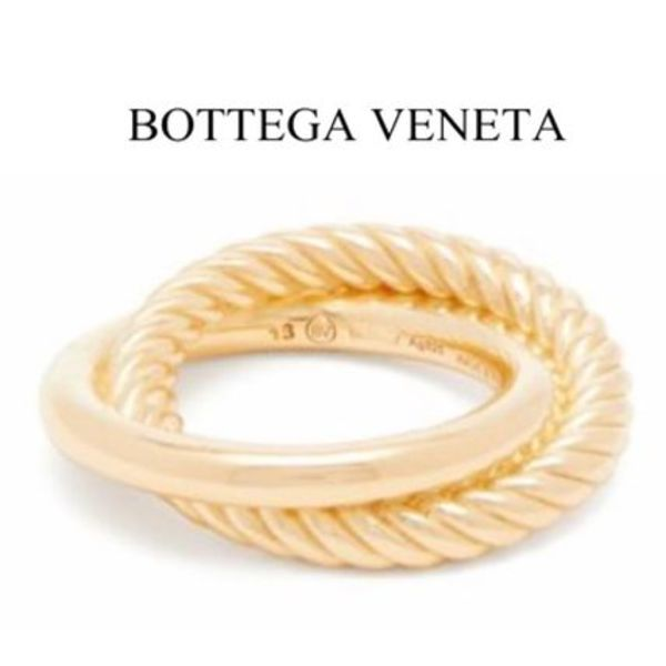 【19AW】BOTTEGA VENETA★Half-twist double-hoop ring
