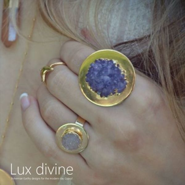 ☆Luxdivine☆アメジスト ムーン リング GOLD☆国内発送☆