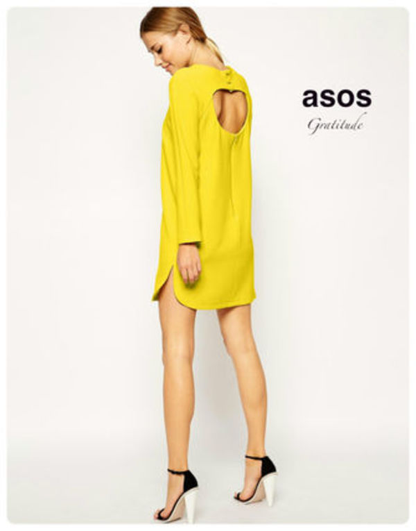 送料込  ASOS  Shift Dress in Crepe with Cut Out Back  全2色