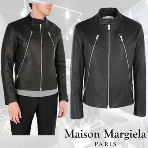 ★Maison Margiela★Leather sports jacket☆ライダース☆Black