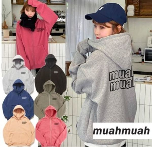 韓国発【muahmuah】Rubber Signature Double Napping Hood Zipup