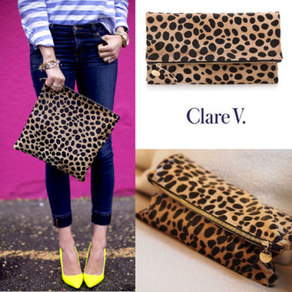 【Clare Vivier】関・送込~ Leopard Foldover Clutch ~