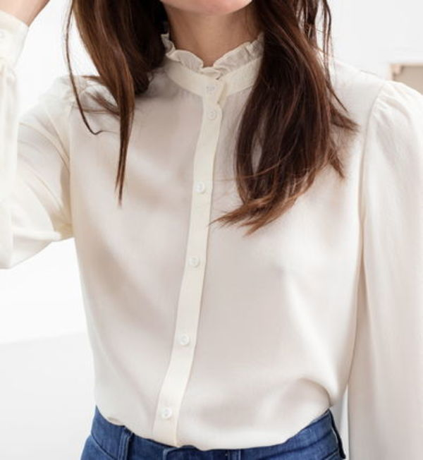 """& Other Stories"" Ruffle Collar Silk Shirt White"