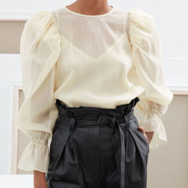 """& Other Stories"" Sheer Puff Sleeve Blouse Ecru"