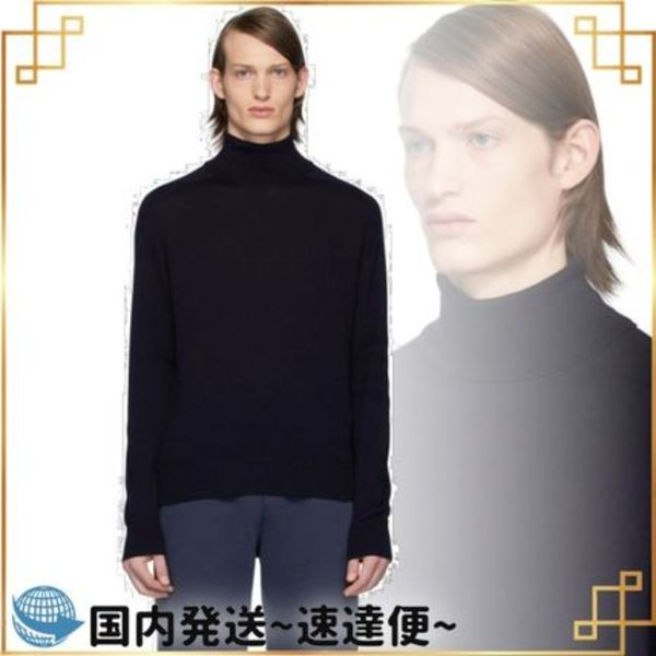 関税込み◆Navy Tonal 4-Bar Saddle Sleeve Turtleneck