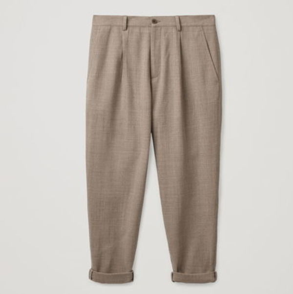 """COS MEN"" PLEATED WOOL-CREPE TROUSERS BEIGE"