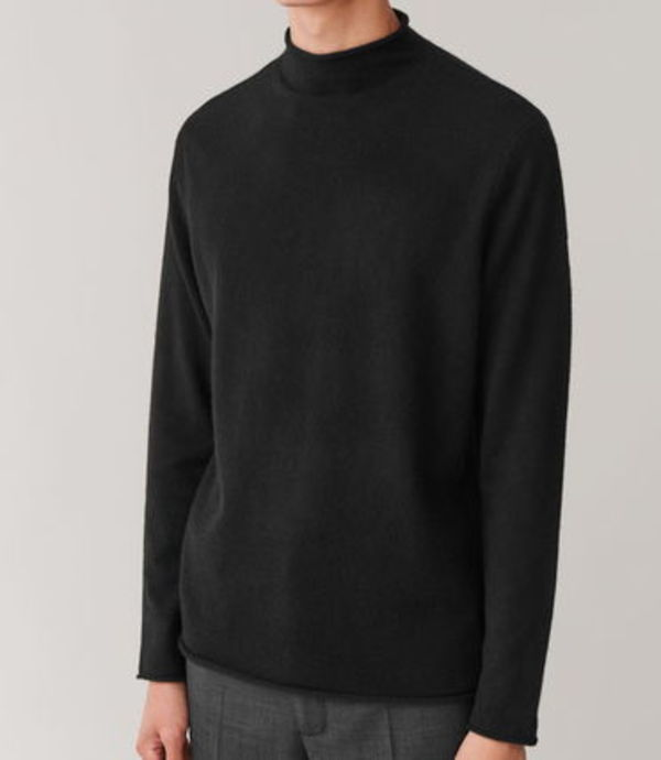 """COS MEN"" CASHMERE MOCK-NECK JUMPER BLACK"