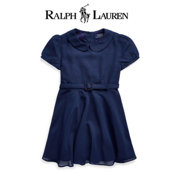 新作【Ralph Lauren】パーティドレス Belted Chiffon Dress
