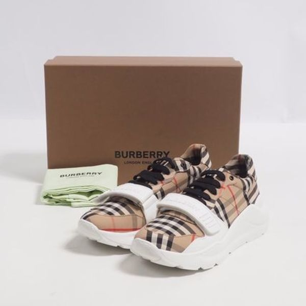BURBERRY::CHECKED CANVAS SNEAKERS:IT39.5[RESALE]