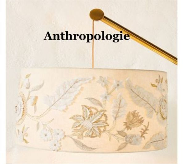 送関込Anthropologie☆Aria Embroideredランプシェードmedium