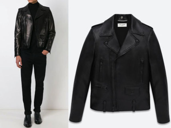 15AW SLP216 SAINT LAURENT blackout classic motorcycle jacket