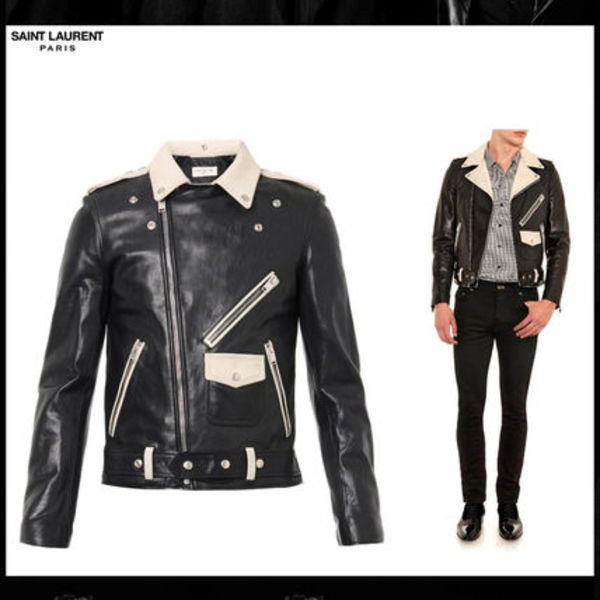 返品可♪SAINT LAURENT☆LeatherBikerJacket(M)【国内即発】