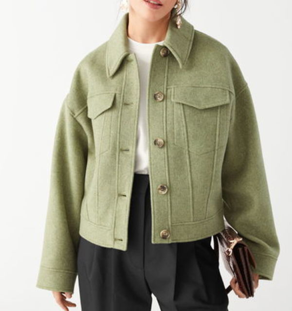 """& Other Stories"" Topstitched Wool Blend Jacket Green"