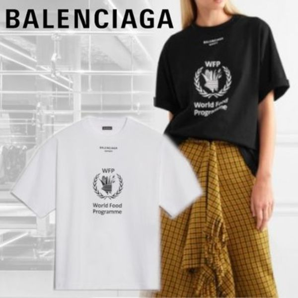 【BALENCIAGA】WORLD FOOD PROGRAMME Tシャツ ロゴ 綿 黒 白