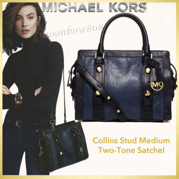 【日本未入荷】MICHAEL KORS Collins Stud☆ Medium Satchel