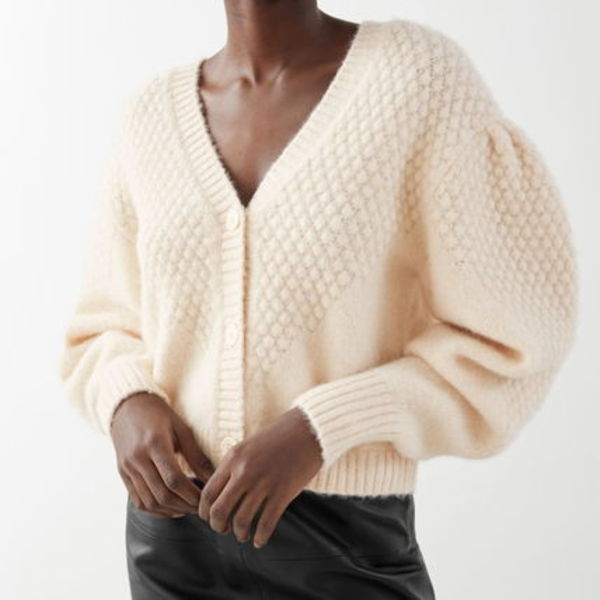 """""""& Other Stories"""" Waffle Knit Wool Blend Cardigan Beige"""