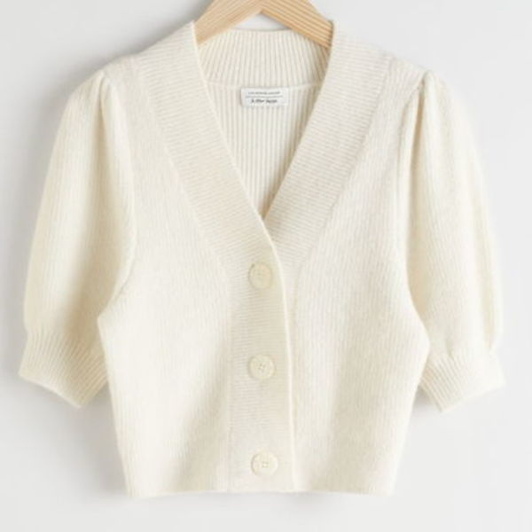 """& Other Stories"" Puff Sleeve Wool Blend Cardigan White"