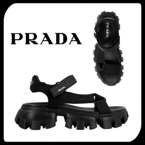 ●関税・送料込●PRADA プラダ Cloudbust Thunder Sandals Black