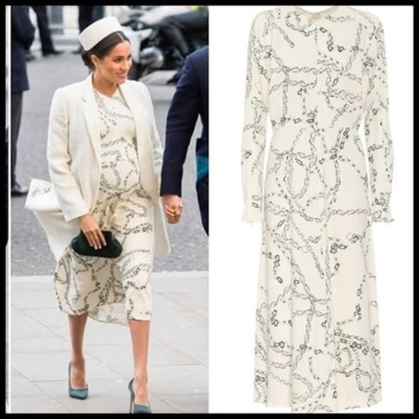 関税送料込Victoria Beckham Chain Printed Midi Dress