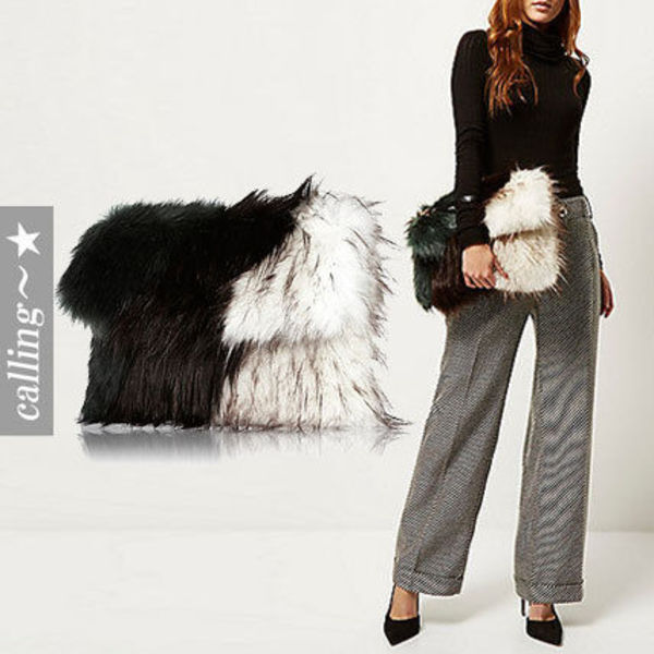 セレブ愛用 ☆River Island☆ Mixed faux fur clutch handbag