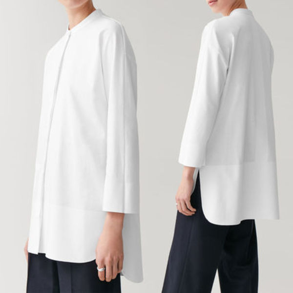 COS COTTON SHIRT WITH BONDED HEM ホワイト