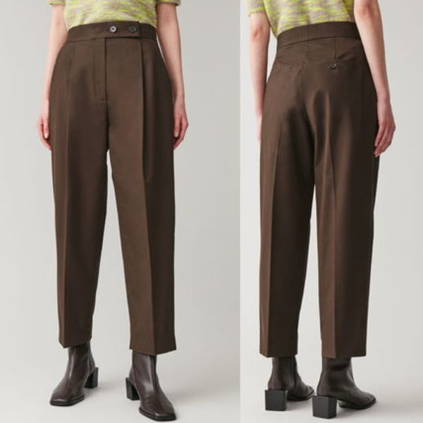 """""""COS"""" HIGH-WAISTED PLEATED TROUSERS BROWN"""