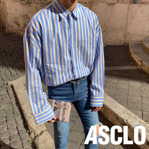 ASCLO(エジュクロ)★OVER FIT BELL STRIPE SHIRT 2色